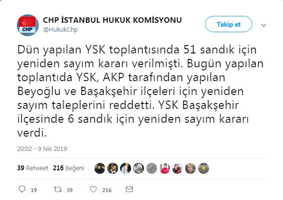 AKP'nin Başakşehir ve Beyoğlu Talebine YSK'dan Red!
