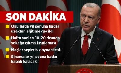 Cumhurbaşkanı Erdoğan, yasakları açıkladı: okullar üniversiteler açılacak mı restoranlar kapanıyor mu spor salonları kapanacak mı